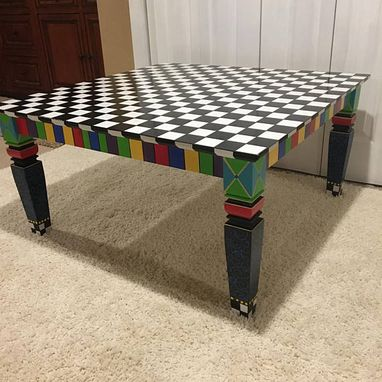 Custom Made Whimsical Painted Coffee Table, Black And White Square Coffee Table, Custom Painted Coffee Table