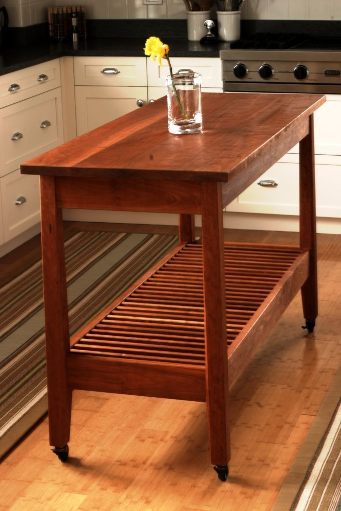 Buy a Custom Made Cherry Kitchen Work Table, made to order ...