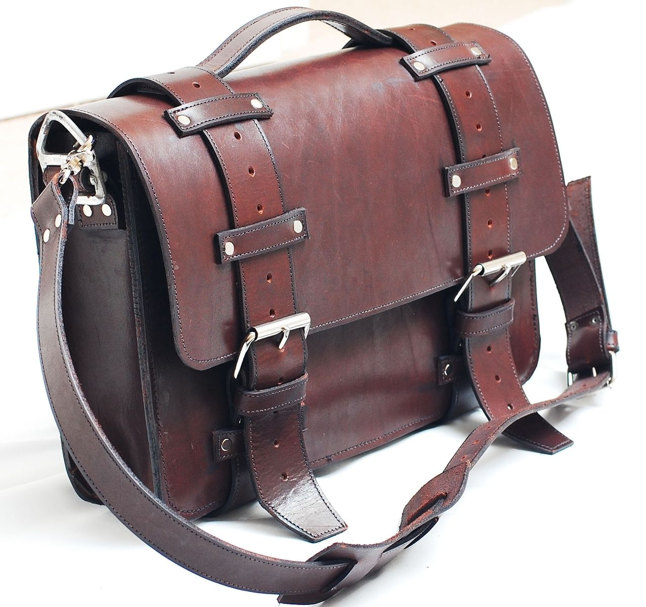 hand crafted leather portmanteau bag computer bag in. Black Bedroom Furniture Sets. Home Design Ideas
