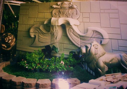 Custom Made Wall Fountain & Lion Sculptures