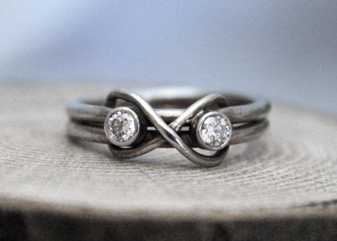Custom Made 14k White Gold Infinity Diamond Ring