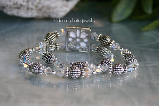 Custom Made Photo Bracelet With Antiqued Silver Beads And Clear Crystals