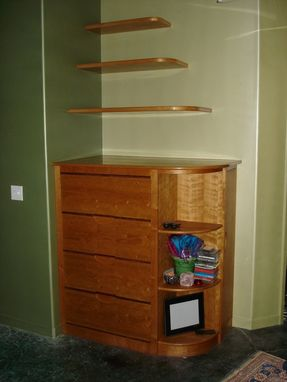 Custom Made Floating Cherry Shelves With Cherry File Drawers