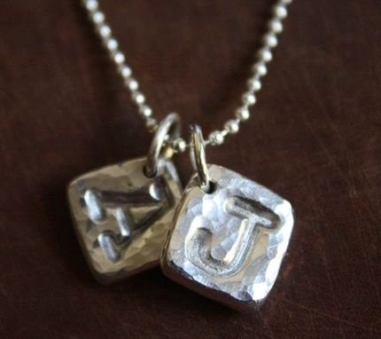 Custom Made Fine Silver Hammered Initial Block Necklace
