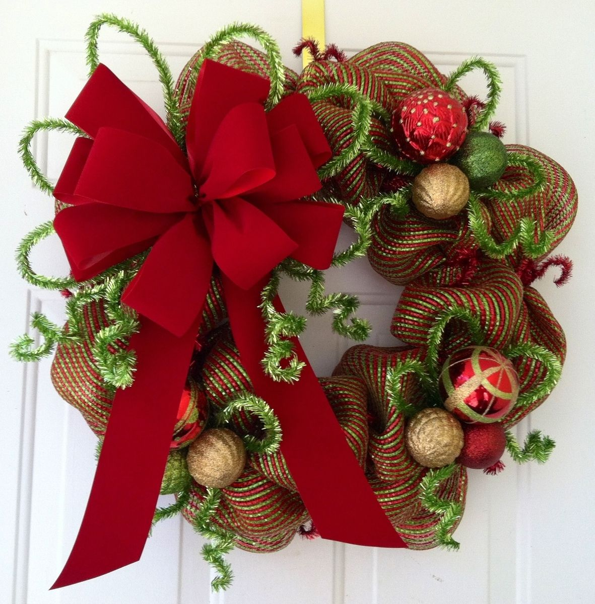 Custom Made Christmas Red Lime Green Striped, Metallic Foil, Christmas  Wreath