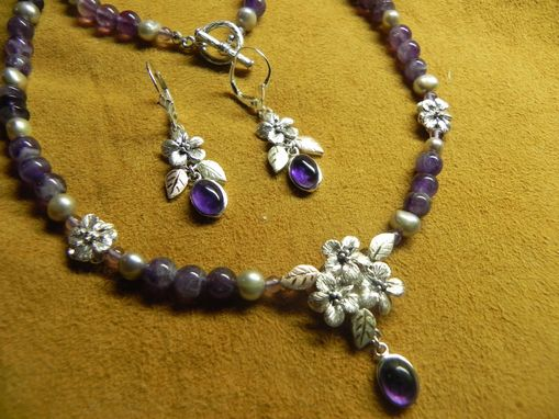 Custom Made Black Hills Gold On Sterling Silver & Amethyst Necklace & Earring