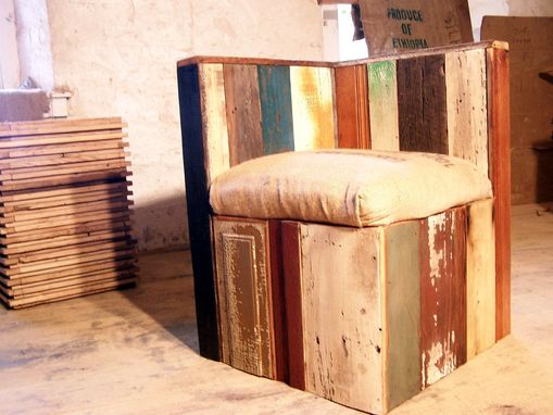 Custom Made Urban Style Corner Lounge Chair From Reclaimed Wood And Coffee Bean Bags