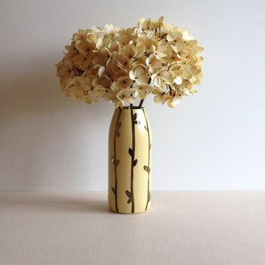 Custom Made Painted Glass Vase, Straw Yellow, Twigs And Leaves