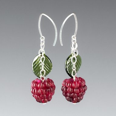 Custom Made Red Raspberry Earrings With Glass Leaves
