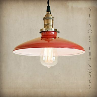 Custom Made Design Your Own Industrial Pendant Loft Light Fixture Metal Porcelain Enamel Vintage