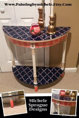 Custom Made Painted Half Moon Custom Whimsical Table Moroccan Nautical