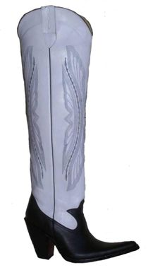 Custom Made 22 Inches Tall Boots 5 Inch Heels And Sharp Toe Eagle Decorative Embroidered White Shaft