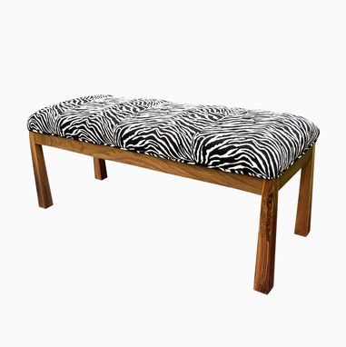 Custom Made Upholstered Walnut Zebra Bench