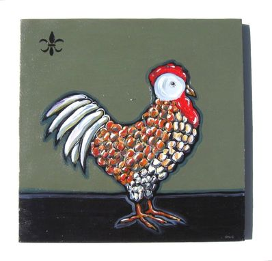 Custom Made Acrylic Rooster Original Painting On Canvas, Animal Painting