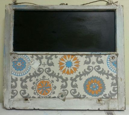 Custom Made Custom Order Old Window Pane Made Into A Push Pin Board / Chalk Board Top, W/ Glass Hanging Knob