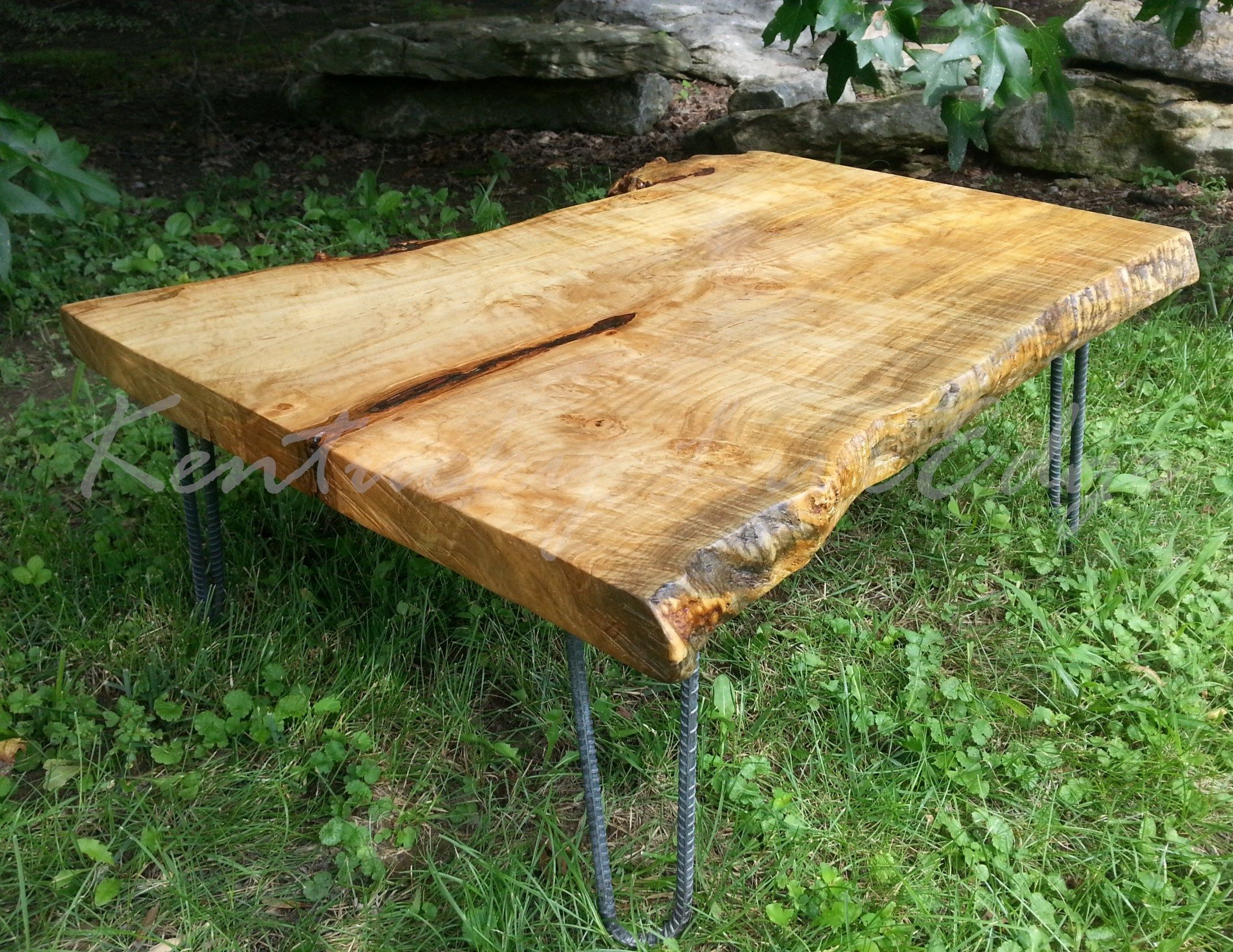 Handmade Maple Burl Live Edge Coffee Table Wood Coffee Table