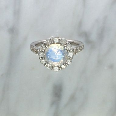 Custom Made Blue Rainbow Faceted Moonstone Diamond Halo Ring - 14k White Gold -