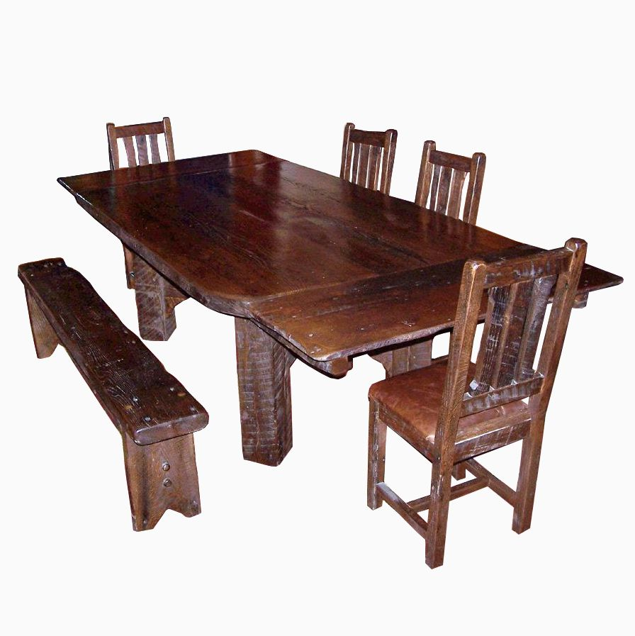 custom made timberframe thick plank farm table