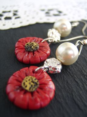 Custom Made Red And Pearl Earrings - Flowers Hand-Crafted In Polymer Clay - Beautifully Packaged