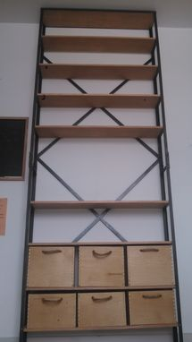 Custom Made Industrial Steel Bookcase With Birch Bins