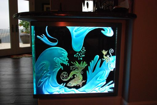 Custom Made Custom Bar With Etch Glass Front