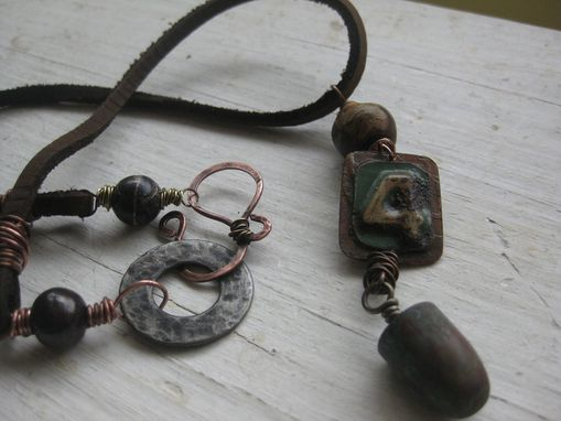 Custom Made Handmade Mixed Metal Necklace With Car Tag, Bullet, And Bone