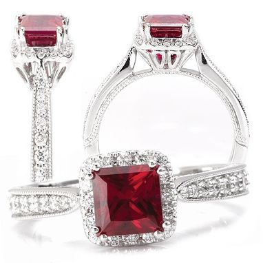 Custom Made 18k Chatham Lab-Grown 5.5mm Princess Cut Ruby Engagement Ring With Natural Diamond Halo