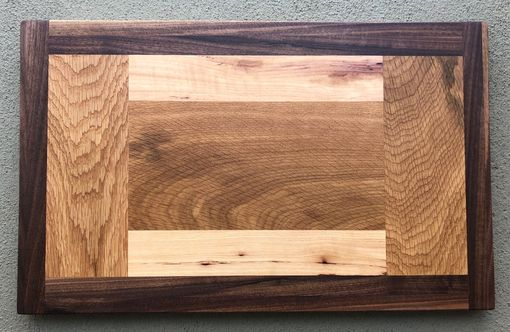 Custom Made Pecan Ash And Walnut Butcher Block Cutting Board And Serving Tray