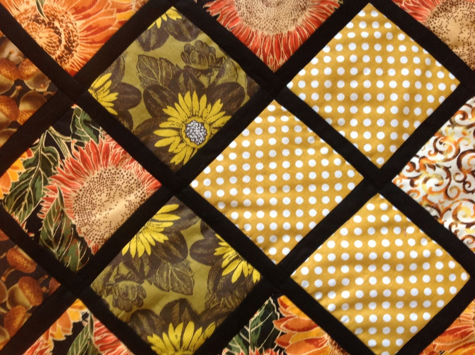 Hand Crafted Intricately Quilted Autumn Thanksgiving Reversible