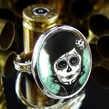 Custom Made Dia De Los Muertos Day Of The Dead Girl Sterling Silver Ring 70-Srr
