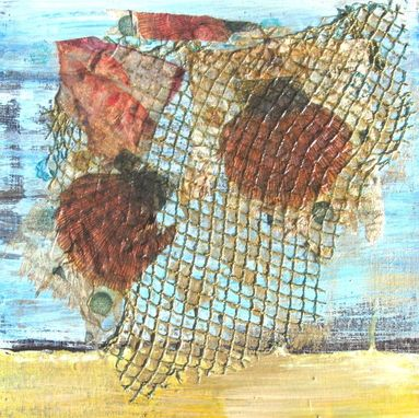 Custom Made Acrylic Beach Mixed Media Collage On Canvas, Beach Cottage Decor