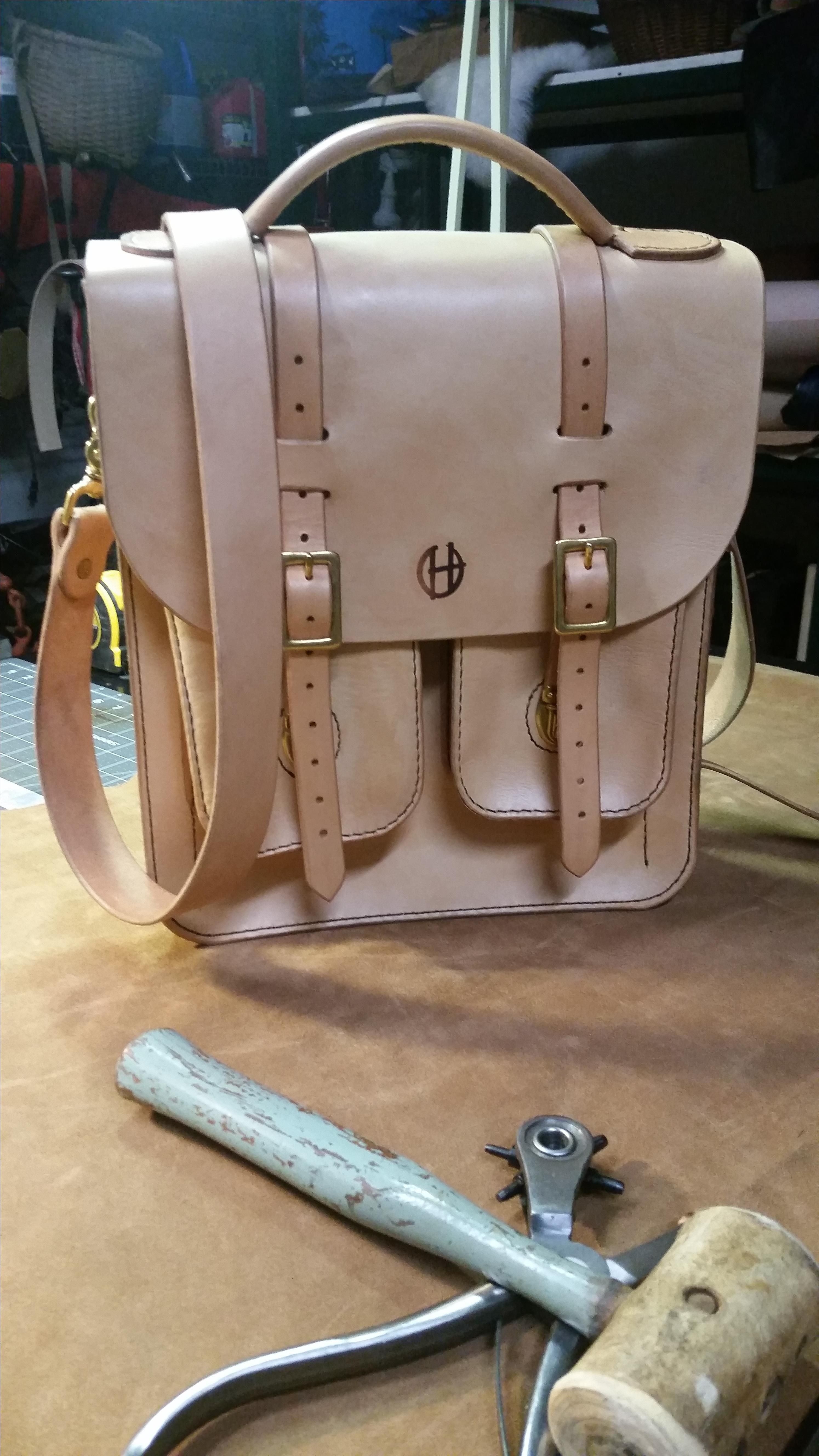 86f368319883 Buy a Custom Made Natural Veg Tan Leather Messenger Bag