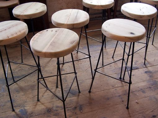 Custom Made Bar Stools Made From Reclaimed Wood With Metal Legs
