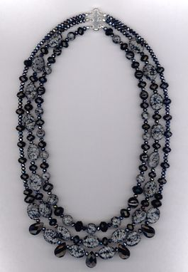Custom Made Obsidian Gemstone Crystal Triple Layered Necklace