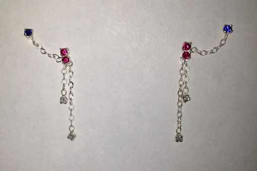 Custom Made Double Hole Earrings With Sapphires, Rubies And Diamonds