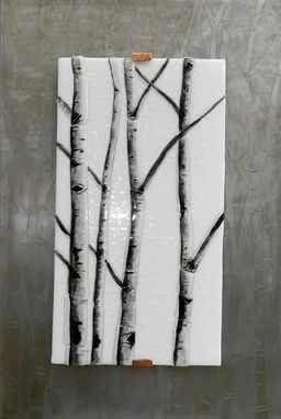 Custom Made Aspen Winter Fused Glass Wall Art