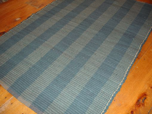 Custom Made Blue Gray Stripe Hand Dyed Woven Wool Rug 41 X 60