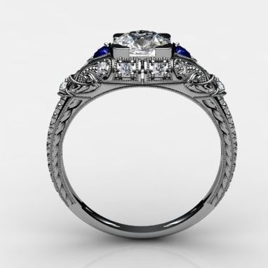 Custom Made Diamond And Blue Sapphire Vintage Art Deco Engagement Ring