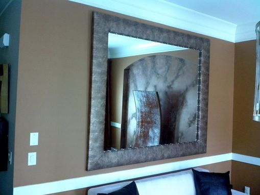 Custom Made Upholstered Frame Decorative Mirror