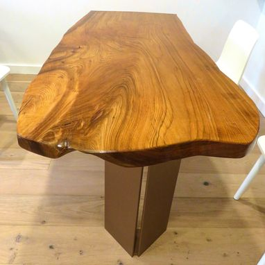 Custom Made Contemporary Wood And Steel Dining Table / Executive Desk