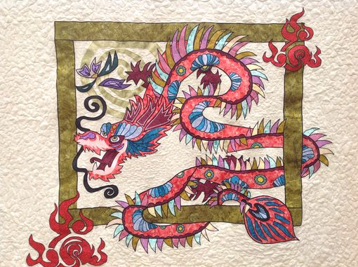 Custom Made Custom Appliquéd 3d Effect Oriental Dragon Quilt