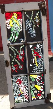 Custom Made Mosaic Stained Glass Bird Window