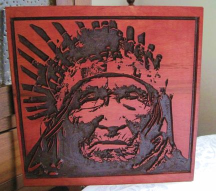 "Custom Made Deeply Carved Handmade ""He Dog"" Wood Native American Indian Art / Wall Hanging - Oglala Lakota Tribe"