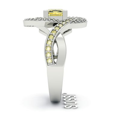 Custom Made Sossi 14k White Gold Princess Twisted Diamond And Yellow Sapphire Engagement Ring 2.50ct