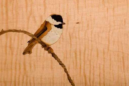 Custom Made Reclaimed Barnwood Jewelry Box, Hand-Cut Protruding Dovetails, And Chickadee Marquetry Inlay