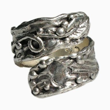 Custom Made Organic Tree Leaf Vine Sterling Silver Cocktail Ring