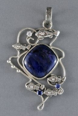Custom Made Nautical Silver Pendant With Blue Sugilite