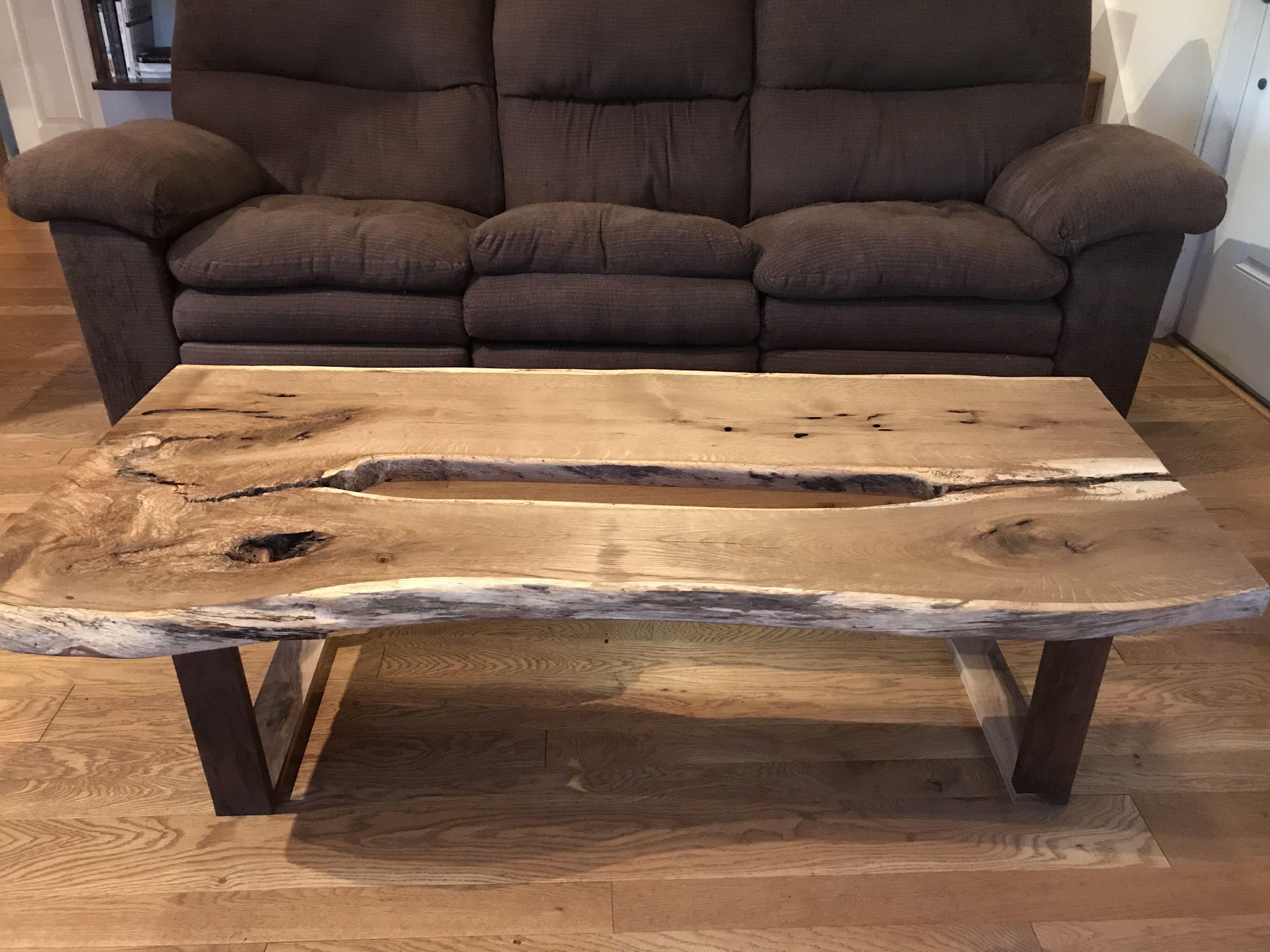 Custom Live Edge White Oak Coffee Table By Martin Rustics