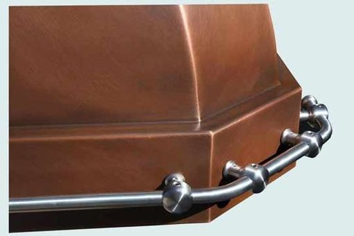 Custom Made Copper Range Hood With Stainless Pot Rail