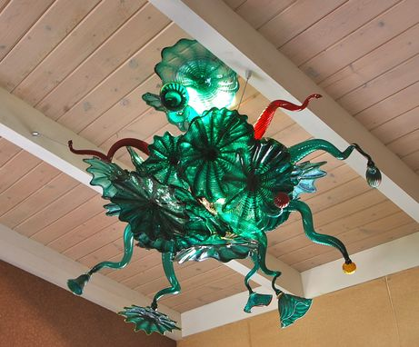 Custom Made Custom Teal Rondel Chandelier With Blown Arms